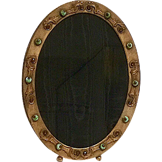Large Brass Oval Jeweled Picture Frame, Art Nouveau