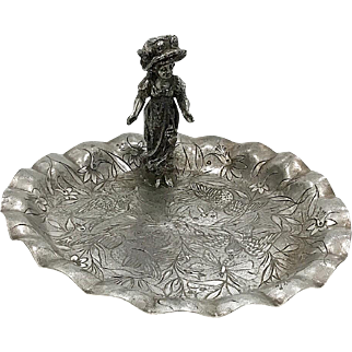 Victorian Tufts SIlverplate Card Tray, Lg. Kate Greenaway Woman