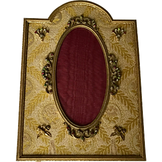 French Brass Frame, Rare Jeweled Viewing Area