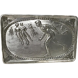 Silverplate Victorian Roller Skating Scene Tray, Hanging Plaque