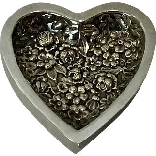 Stieff Sterling Silver Ornate Heart Shaped Pin Tray