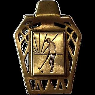 Figural Art Deco Golfer in Knickers Brass Money Clip, Holder