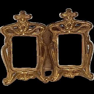 Art Nouveau K & O Co. Double Miniature Brass Frame
