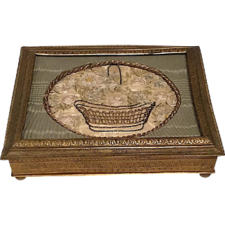 French Brass Jewelry Box w. Handmade Ribbon Work Insert
