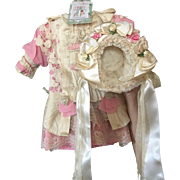 """Rose Silk and Lace Dress With Matching Bonnet for 22"""" Antique Doll"""