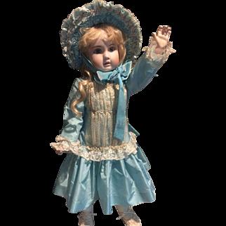 Turquoise Dupioni Silk Couture Dress & Bonnet
