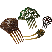 Set of Four Vintage Hair Combs