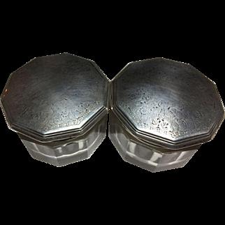 Sterling Silver Lidded Vanity Jars -Set of 2