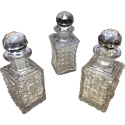 Antique Cut Crystal Perfume Bottles- 3 Bottles