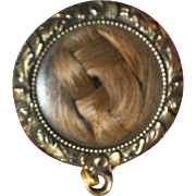 Beautiful Mourning Hair Pendant/Pin with Gold Filled Frame