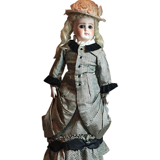 Exquisite Swivel Head Antique German Fashion Doll With Exceptional Outfit & Antique Shoes!!