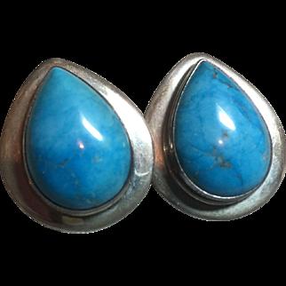 Vintage Native American Turquoise/Silver Drop Earrings