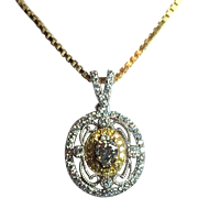 Exquisite 14kt White Gold & Diamond Pendant with Chain