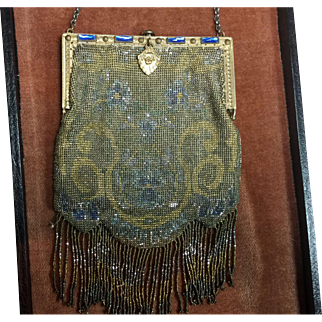 Antique Gorgeous Micro Beaded Purse with Blue Stones