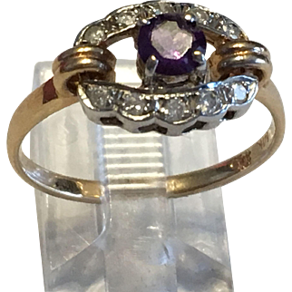 Diamond & Amethyst 14 Karat White & Yellow Gold Ring Early 20th Century Style Art Deco