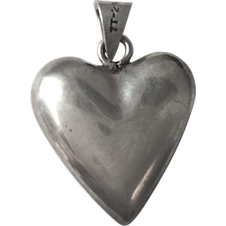 Taxco Mexico Sterling Silver Puff Heart Pendant Necklace Big 1.5 inches
