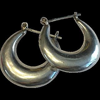 "1 1/4"" inch Sterling Silver 925 Hollow Hoop Earrings"