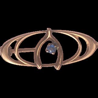 10 Karat Gold Wishbone Pin with Blue Stone