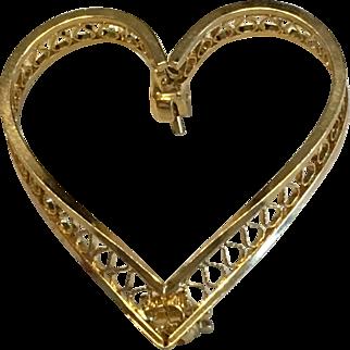 Vintage Estate 1 inch 12K GF Heart Pin