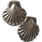 Vintage Mexican Sterling Silver 925 Shell Earrings from Taxco, Mexico 80's