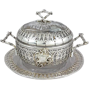 19th French Sterling Silver & Crystal Sugar Bowl