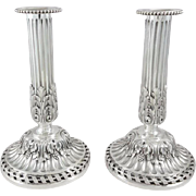 19th French Sterling Silver Candlesticks