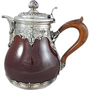 19th French Ceramic & Sterling Silver Pitcher