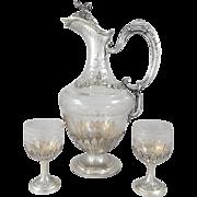 Henri Soufflot - Sterling Silver & crystal Ewer / claret jug