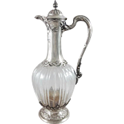 French Sterling Silver & Crystal Ewer / claret jug