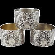 3 Sterling Silver Napkin rings