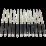 12 French Sterling Silver fruit / dessert knives