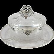 French Sterling & crystal sugar bowl