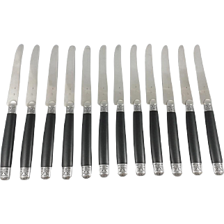 12 French Sterling Silver fruit / dessert knifes