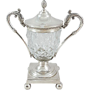 19th French Sterling Silver & Crystal Mustard Pot