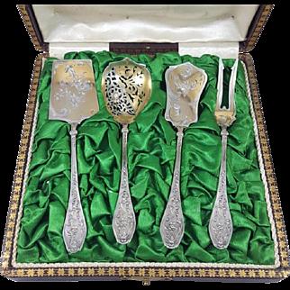 Antique French Silver & Vermeil 4pc Hors d'oeuvre Set