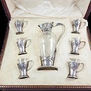 Art Nouveau Sterling Silver & crystal liqueur service set