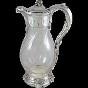 Antique French Sterling Silver & crystal Claret jug / ewer