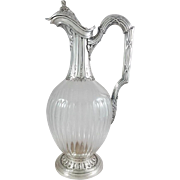 19th French Sterling Silver & Crystal claret jug / ewer