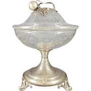 19th French Sterling Silver & Crystal Candy Dish