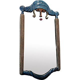 "Erte's ""Scheherazade,"" a limited-edition polychrome bronze framed mirror"