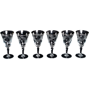 1950's Port Wine Glasses / Sherry Glasses / Liquor Glasses etched with pine boughs and cones – set of 6