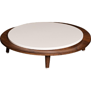 Mid-century modern wood cake stand / cheese board with feet
