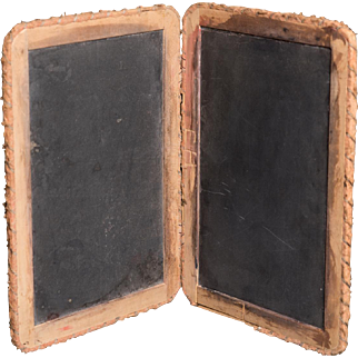 Antique Hinged Folding Slate Chalkboard
