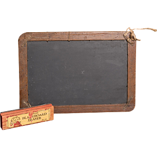 Blue Vein Slate Co. Antique Slate Chalkboard & Vintage Eraser
