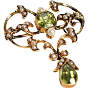 Antique Victorian Seed Pearl and Green Peridot Brooch Antique 9K Gold Peridot Brooch