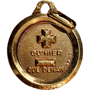 Rose Gold Charm Qu'Hier Que Demain Vintage French Pendant Golden Qu Hier Que Demain Pendant Alphonse Augis Vintage Symbolic Jewelry Love Charm 1930s Jewelry