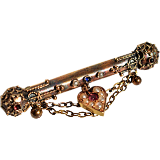 Antique Golden Heart Bar Brooch Victorian 18k Gold Bar Brooch Victorian Garnet Heart Brooch 1800s Jewelry 19th Century Jewelry Antique French Collar Brooch