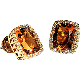 18K Gold Vintage Estate Emerald Cut Citrine and Diamond Earrings Statement Square Citrine Studs Vintage Square Diamond and Citrine Studs