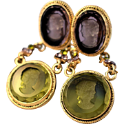 Vintage Sterling Silver and Frosted Glass Cameo Earrings Vintage Gold Plated Cameo Drop Earrings Vintage Etched Green and Purple Glass Cameo Earrings Vintage Statement Dangle Earrings