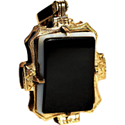 Antique Victorian Golden Onyx Locket Antique Onyx Charm 1800s Jewelry Antique 14k Gold Onyx Pendant Antique Victorian Carnelian Pendant